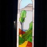 vidriera con paisaje para ventana de baño