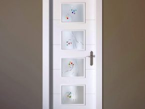 Cristales de cuarterones para puertas lacadas en blanco. Opción colores personalizados
