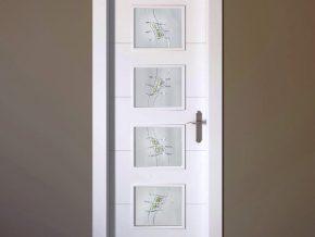 Vidrios blanco mate con dibujo para puerta de cuarterones