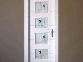 Cristales para puerta de cuarterones mate con diseño vanguardista