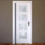 cristales para puerta blanca con diseño moderno sobre cristal mateado