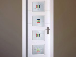 cristales para puertas con vidrios de color sobre fondo de cristal blanco mate. Colores a elegir.