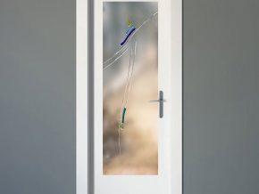diseño de formas abstractas en cristal mate para puerta