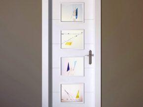 diseño abstracto para cristales mate en puerta de cuarterones