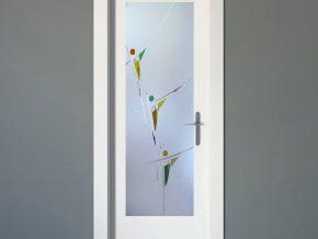 cristales para puertas sobre fondo mate con detalles de color a elegir