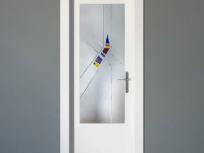 cristales fundidos sobre cristal mate para puerta
