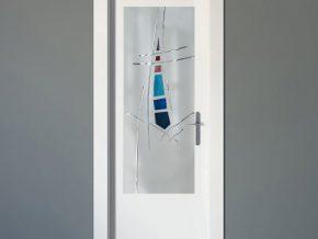 cristales mateados con dibujo para puertas de madera