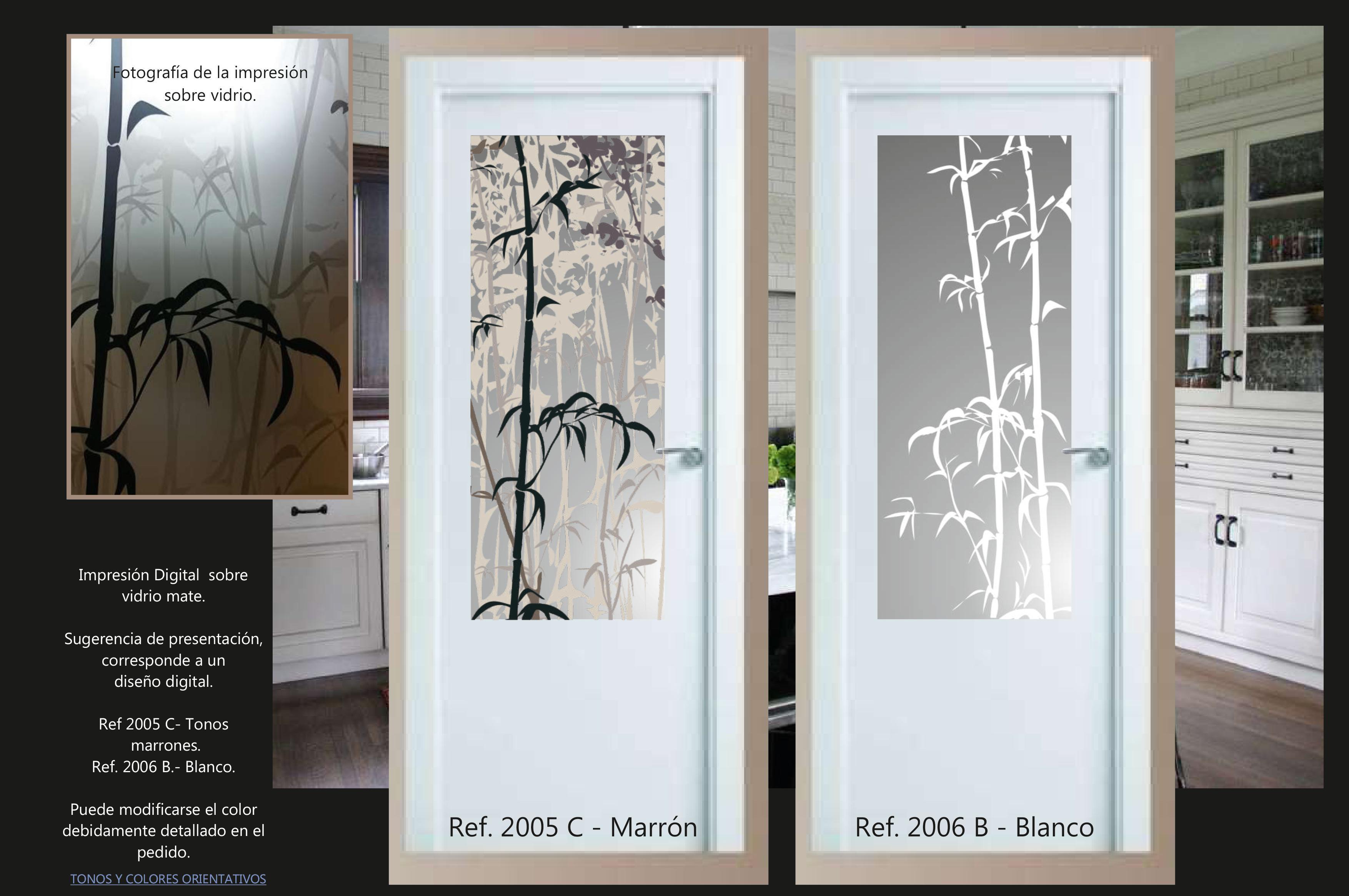 Cristal para puerta con impresión digital sobre vidrio mate. Se pueden cambiar los colores.